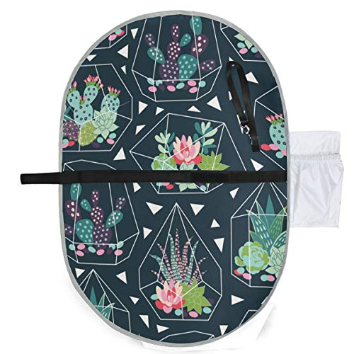 Cactus Waterproof Baby Changing Pad, Portable Diaper Changing Pad, Diaper Bag Mat, Foldable Travel Changing Station | Stroller Strap,Side Pocket for Wipes Diaper| for Infants & Newborns