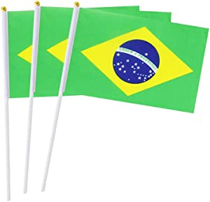 Brazil Flag Brazilian Hand Held Mini Small Stick Flags For Party Classroom Garden Olympics Festival Clubs Parades Parties Desk Decorations(20 pack)
