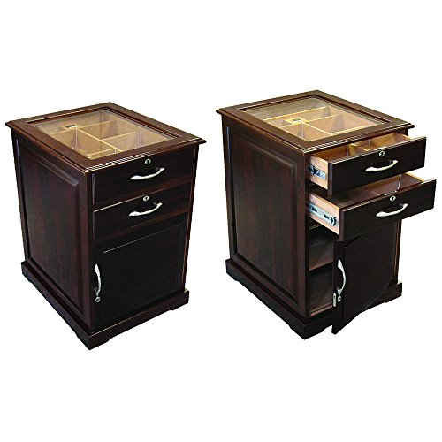 (Prestige Import Group - The Santiago End Table Cigar Humidor - Walnut Finish)