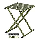 TRIPLE TREE Portable Folding Stool, Super Strong Heavy Duty Outdoor Folding Chair Hold up to 650 lbs, Unfold Size 13.9(L) x14.3(W) x17.8(H) Inch Pack of One (Large)