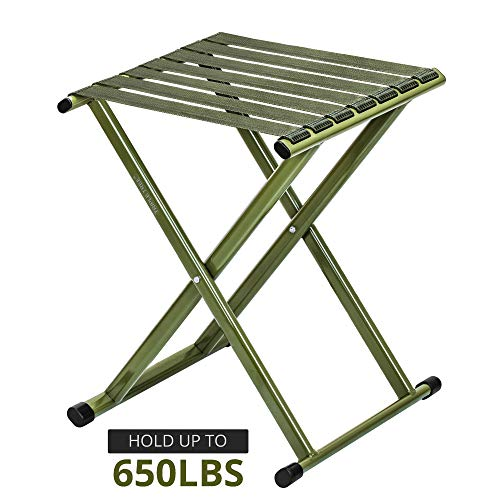 Portable Folding Stool, Super Strong Heavy Duty Outdoor Folding Chair Hold up to 650 lbs, Unfold Size 13.9(L) x14.3(W) x17.8(H) Inch Pack of One (Large) ()