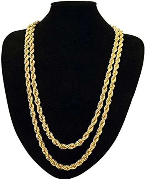 Tuokay Faux 18k Gold Rope Chain Necklace Fake Gold Rope Necklace 7mm 24 Long Sparkling With The Look And Feel Of Solid Gold Fashion Jewelry Wear Alone Or With Pendant Amazon Com