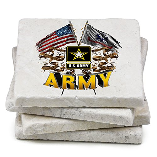 Natural Stone Coasters - US Army Gifts for Men or Women - Armed Forces Beverage & Beer Coasters - Army Double Flag (Set of 4)