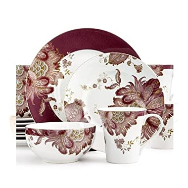 222 Fifth Eliza Plum 16 Piece Dinnerware Set