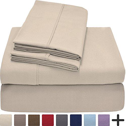 Premium 1800 Ultra-Soft Microfiber Sheet Set Full Extra Long - Double Brushed - Hypoallergenic - Wrinkle Resistant (Full XL, (College Full Sheet Set)
