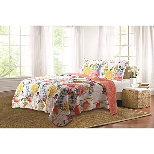 MISC 2pc Coral Pink White Floral Watercolor Quilt Twin Set, Flower Country Bedding Antique Vintage Classic Nature Roses Vibrant Cottage Rustic Salmon Blue Yellow Green Purple Contemporary, Cotton by MISC