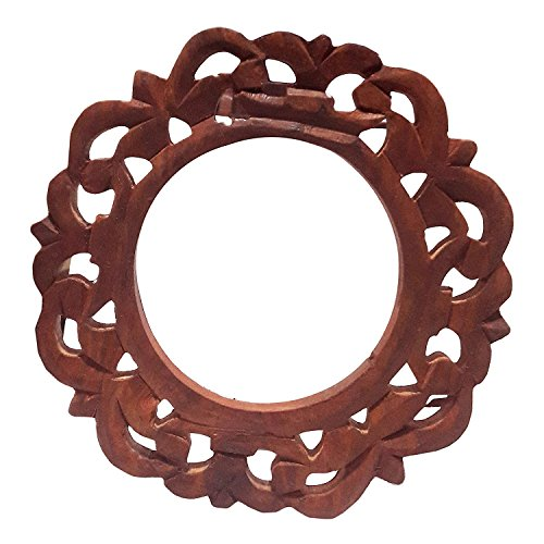 Decorative Rounded Wooden Curtain Tiebacks Curtain Holder Carving Work Holdbacks Curtain Holder Brown Color Size 6 X 6 Inch by IndiaBigShop (Image #2)