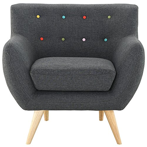 Grey Armchair with Dowel Legs and Multi-Coloured Buttons