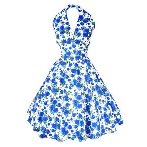 Maggie Tang Women's 1950s Vintage Rockabilly Dress Size L Color Blue Rose