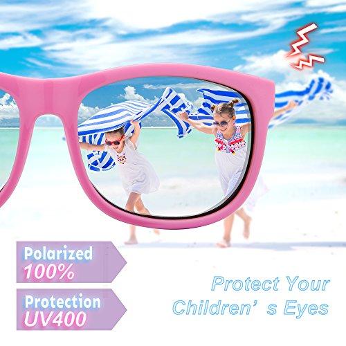 RIVBOS RBK023 Rubber Flexible Kids Polarized Sunglasses Glasses Age 3-10 (Pink)