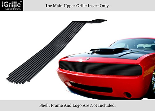 (APS Fits 2009-2014 Dodge Challenger Phantom Main Upper Stainless Steel Black 8x6 Horizontal Billet Grille Insert)