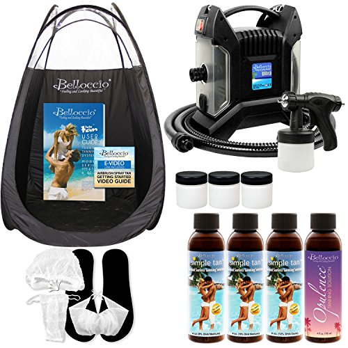 Self Tanning System (Ultra Pro T85-QC High Performance Sunless Turbine Spray Tanning System; Belloccio 4 Solution Variety Pack, Tanning Tent, Accessories and Video Link)