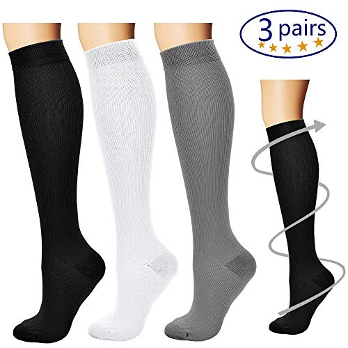 - Bluemaple Compression Socks for Women & Men - Best for Running, Athletic Sports, Crossfit, Flight Travel -Maternity Pregnancy, Shin Splints - Below Knee High