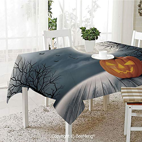 BeeMeng Dining Kitchen Polyester dust-Proof Table Cover,Halloween,Cold Foggy Night Dramatic Full Moon Pumpkins on Wood Board Trees Print,Grey Orange Black,Rectangular,59 x 59 inches ()