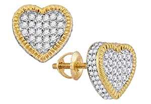 10kt Yellow Gold Womens Round Diamond Heart Rope Frame Cluster Earrings 3/4 Cttw