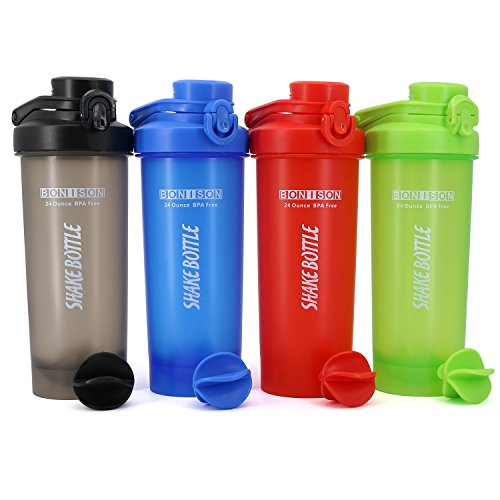 AUTO-FLIP Shaker Bottle 4 Pack for Protein Mixes Cups Powder Blender Smoothie Shakes BPA Free Small Shake With Powerful Mixing Ball - 24 Ounce (Full Color) by Hoople