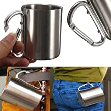 Backpacking mug 220ml Stainless Steel Coffee Mug Camping Outdoor Portable Cup Carabiner Hook NEW life straw by Teapot Trivets