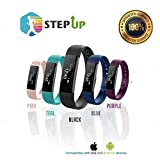 StepUp Fitness Tracker Pedometer - Activity Monitor 100% Waterproof Adjustable Wristband - Ultra-HD Step Calorie Counter for Android & iOS