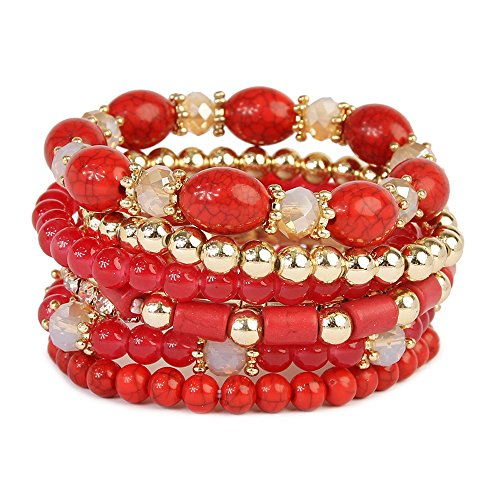 Fashion Multi-layer Vintage Natural Stone Turquoise Beads Irregular Elastic Jewelry (Red) (Plastic Bracelets Vintage)