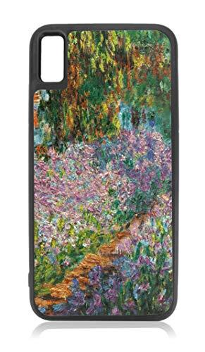 Monet Irises Garden - Irises in Monet's Garden Painting Design Black Rubber Case for iPhone Xs Max - iPhone Xs Max Accessories
