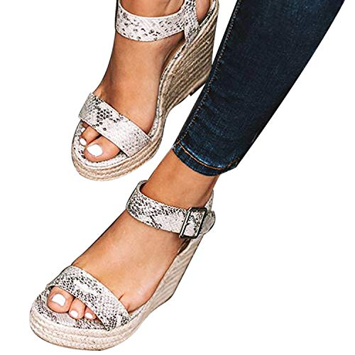 XMWEALTHY Women's Wedge Sandals Casual Sandals Shoes Summer Ankle Buckle Open Toe Wedges Heels US Size 5.5 Snake