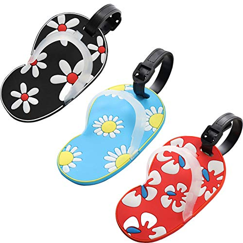 Slipper Luggage Tags, Travel Suitcases Identifiers Labels, Silicone Cruise Baggage Tag Set 3 Pack