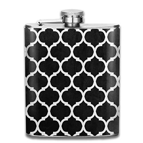 (Black White Moroccan Trellis Flask- Stainless Steel 7 Oz Hip)