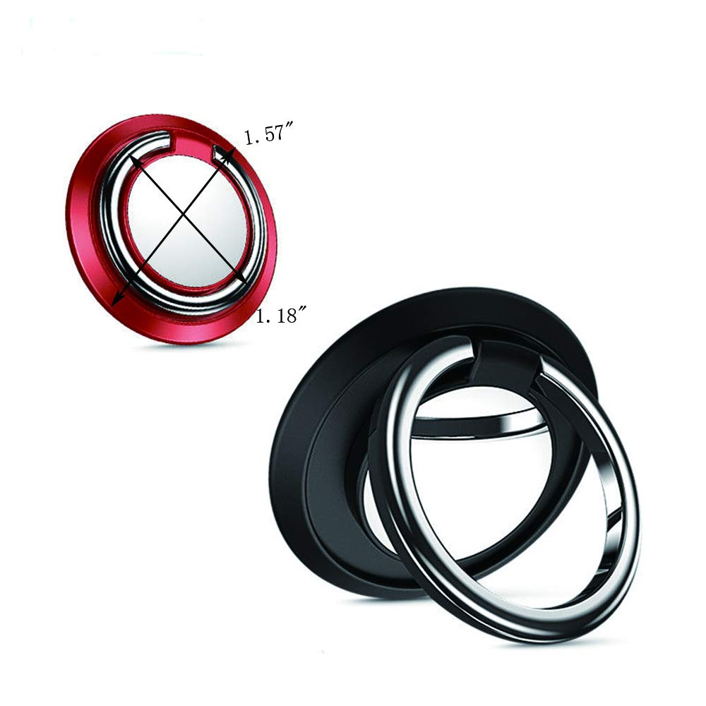 Yahpetes 2 Pcs Phone Mount Finger Red and Black 360 Degree Rotation and 180 /°Flip Cell Phone Ring Holder Metal Ring Grip for Cell Phone Tablet Red and Black