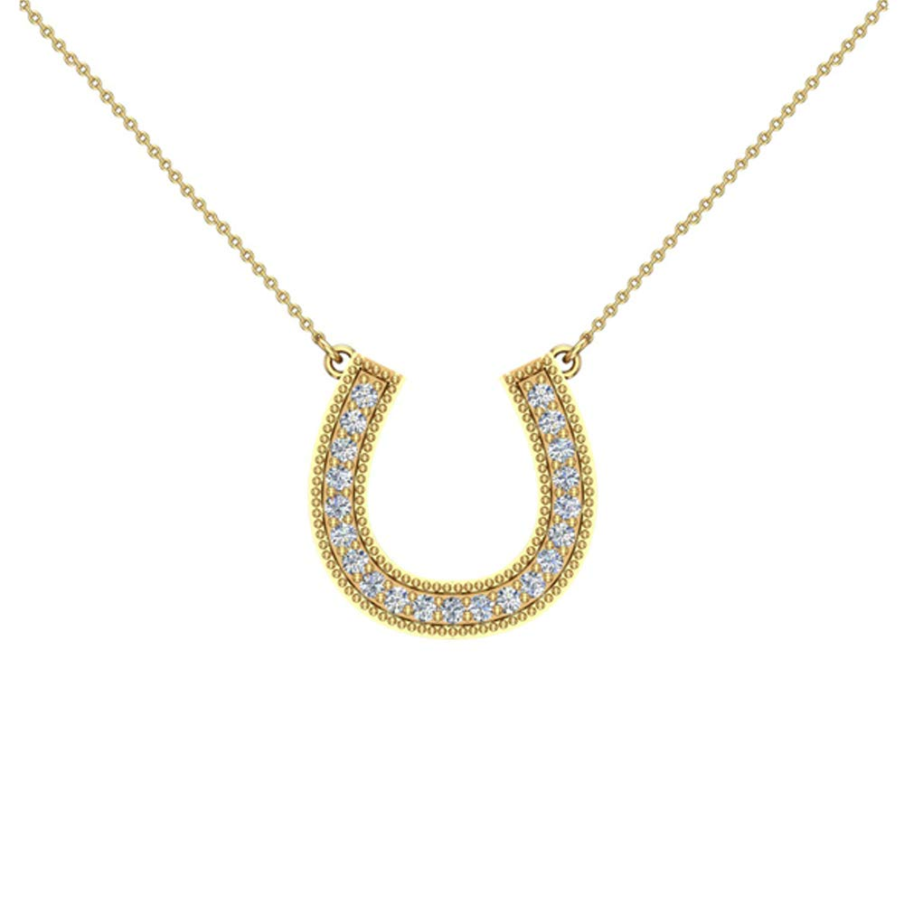 G,SI 0.30 ct Diamond Horse Shoe Necklace 14K Gold with 20Chain Extra-Ordinary Quality Glitz Design AGDPEP2264