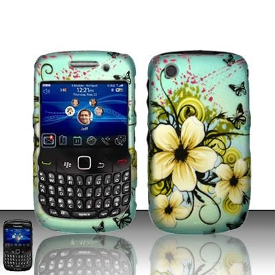 Rubberized Faceplate Phone - Yellow Flower Rubberized Snap on Hard Skin Faceplate Cover Case for Blackberry Curve 8520 8530 + Microfiber Pouch Bag