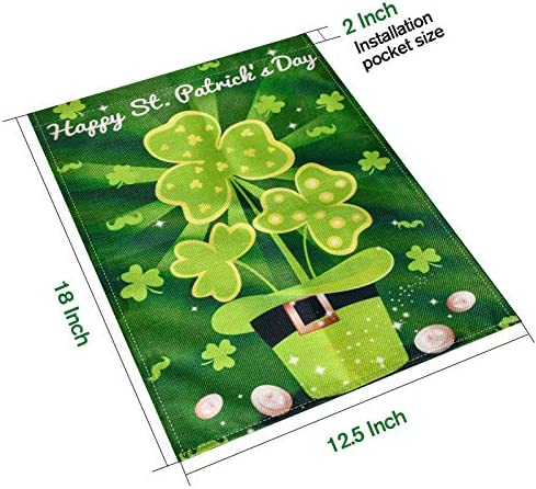 TGOOD St. Patrick's Day Garden Flag Happy St. Patrick's Day Decorations Shamrock Hat St.Patrick's Flags for Garden and Home Decor-Double Sided & Weather Resistant, 18 x 12.5 Inch