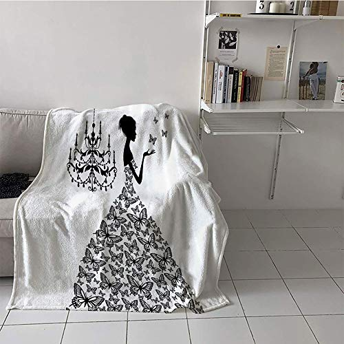 alilihome Children's Blanket Chair Digital Printing Blanket (60 by 62 Inch,Fabric,Collection,Butterflies Chandelier Princess Wedding Gown,LBlack and White ()