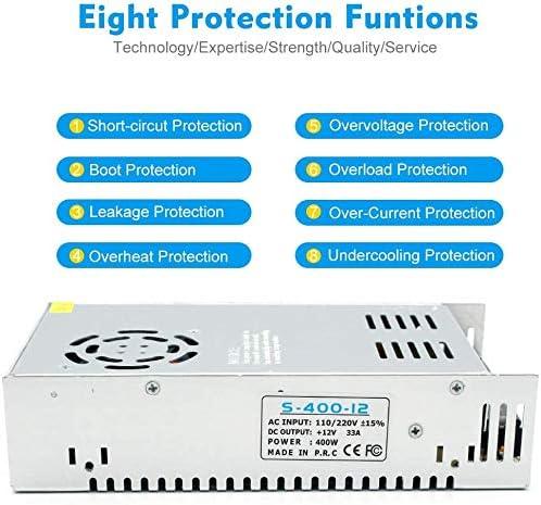 inShareplus 24V 16.5A 400W, DC Universal Regulated Switching Power Supply, 110/220V AC to DC 24 Volt LED Driver, Converter, Transformer for LED Strip Light, CCTV, Computer Project, 3D Printer