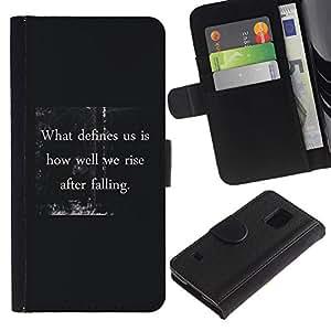 LASTONE PHONE CASE / Lujo Billetera de Cuero Caso del tirón Titular de la tarjeta Flip Carcasa Funda para Samsung Galaxy S5 V SM-G900 / what defines you inspiring quote message