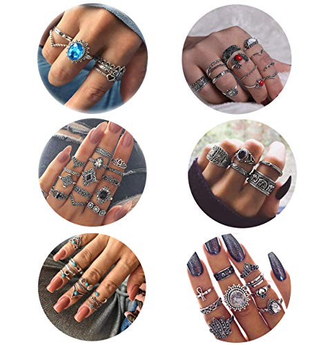 Besteel 58 Pcs Womens Knuckle Rings for Girls Stackable Midi Joint Finger Ring Set