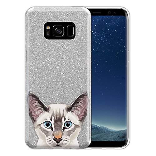 - FINCIBO Case Compatible with Samsung Galaxy S8 G950 5.8 inch, Shiny Sparkling Silver Bling Glitter TPU Protector Cover Case for Galaxy S8 (NOT FIT S8+ Plus) - Lynx Point Lilac Siamese Cat