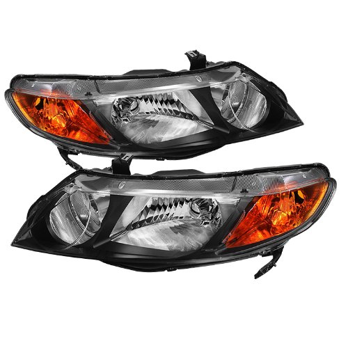 for Civic 4dr Crystal Headlights Amber - Crystal Civic Honda 4dr