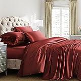 Reliable Bedding 100% Pure Silk Satin Sheet Set 4pcs, Silk Fitted Sheet 15'' Deep Pocket,Silk Flat Sheet & Pillowcases Set !!! Short Queen, Burgundy