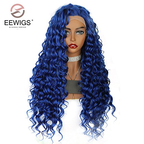EEWIGS Deep Curly Lace Front Wig Long Natural Blue Curly Synthetic for Lady