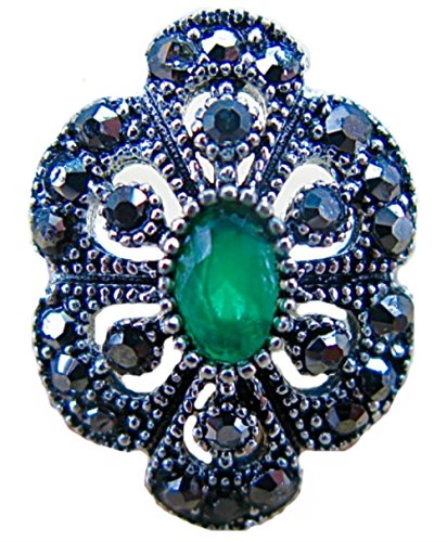 (FaithOwl Marcasite Simulated Emerald Filigree 925 Sterling Silver Ring (7.5))