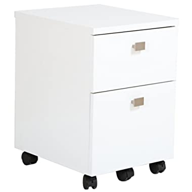 South Shore (SOUCS 7350691 2-Drawer Mobile File Cabinet on Casters, Pure White