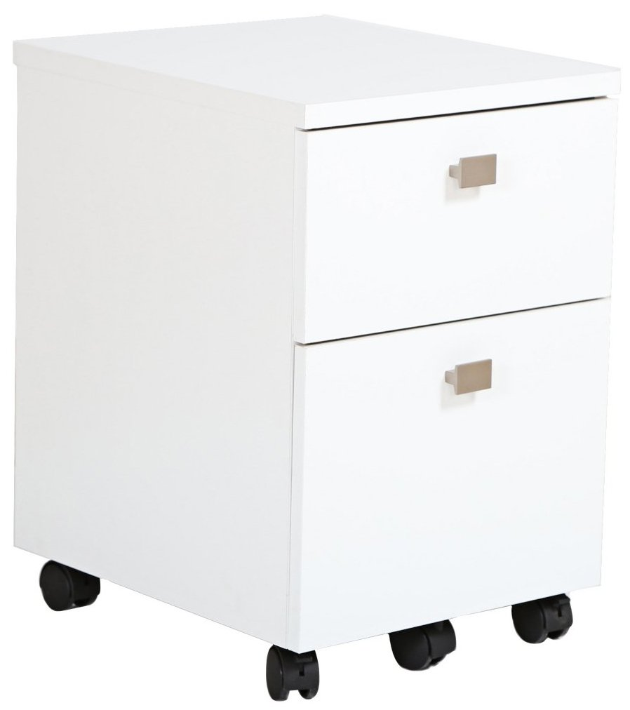 South Shore 2-Drawer Mobile File Cabinet on Casters, Pure White