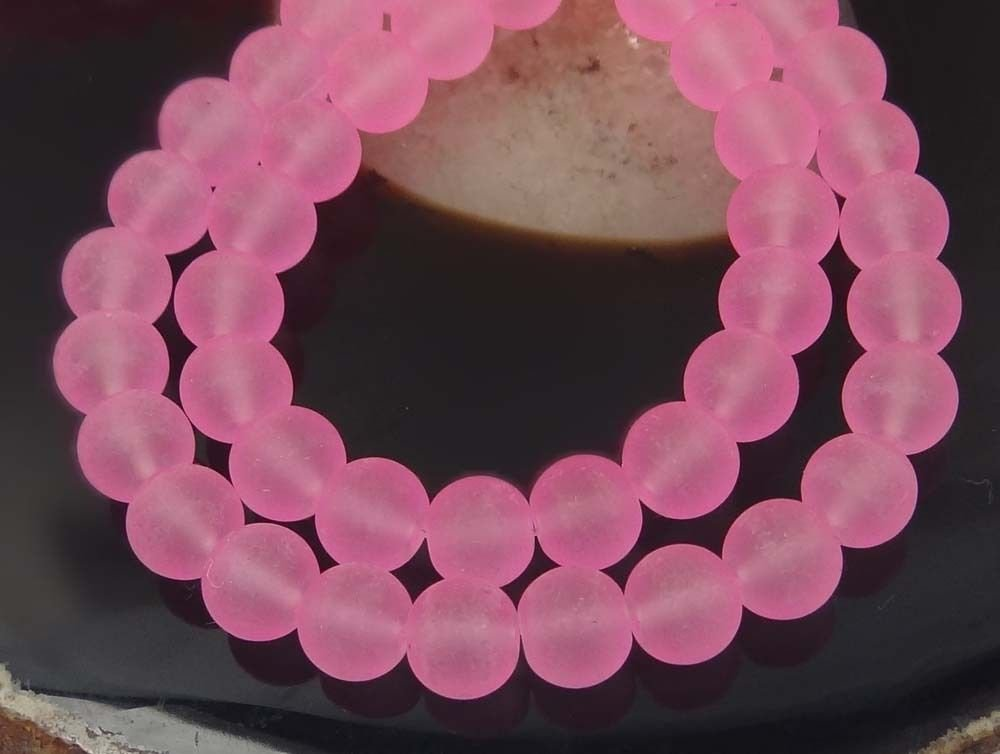 25 Frosted Sea Glass Round Beads Matte - Hot Pink 8mm Adhit_ebe