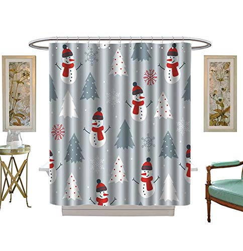Shower Curtains 3D Digital Printing Christmas Seamless Pattern with Snowman,fir Trees and Snowflakes Perfect for Wallpaper Bathroom Set with Hooks Size:W36 x L72 inch