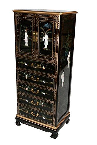 - Black Lacquer Wooden Lingerie Cabinet Model S001-EXS BK