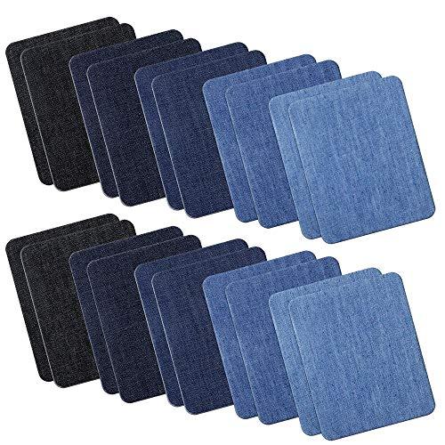 Outuxed 20pcs Iron on Denim Patches Fabric Patches for Clothing Jeans, Iron on Repair Kit, 5 ()