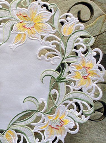 - Galleria di Giovanni Spring Lily Table Runner Dresser Scarf Runner Embroidered 43