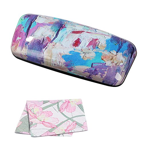 Molshine Oil Painting Pattern Portable Hard shell eyeglasses Glasses Case for Reading Glasses (H) (Silk Classic Shell)