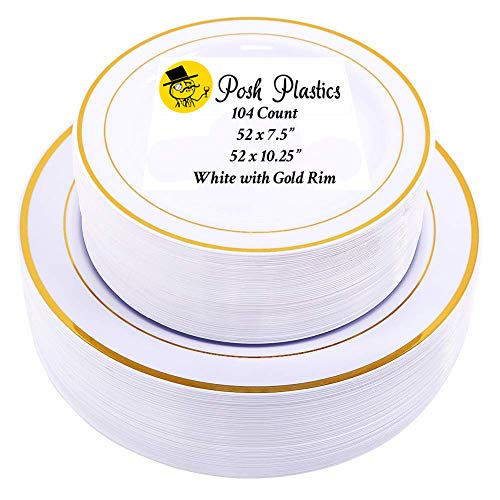 104 PIECE DISPOSABLE PLASTIC PLATE SET | 52 Large 10.25 Inch Dinner Plates & 52 Medium 7.5 Inch Dessert Appetizer Plates | Heavy Duty White with Gold Rim | Wedding Party by Posh Plastics