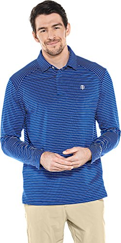 Coolibar UPF 50+ Men's Long Sleeve Performance Polo - Sun Protective (Large- Cobalt/White Stripe)